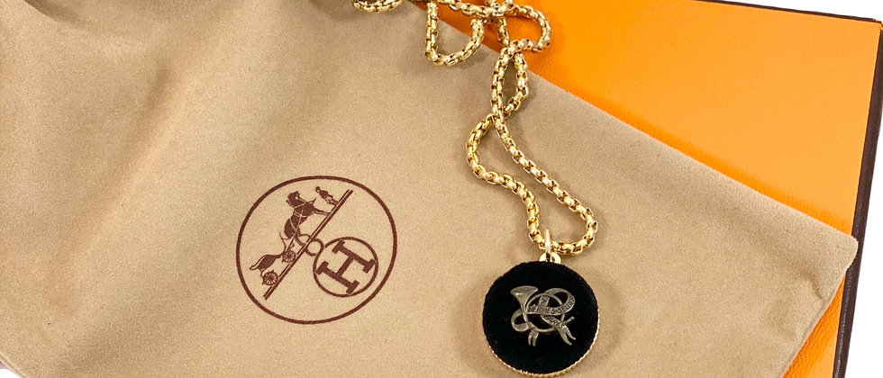 Repurposed Vintage Hermès Large Black Velvet Charm Necklace