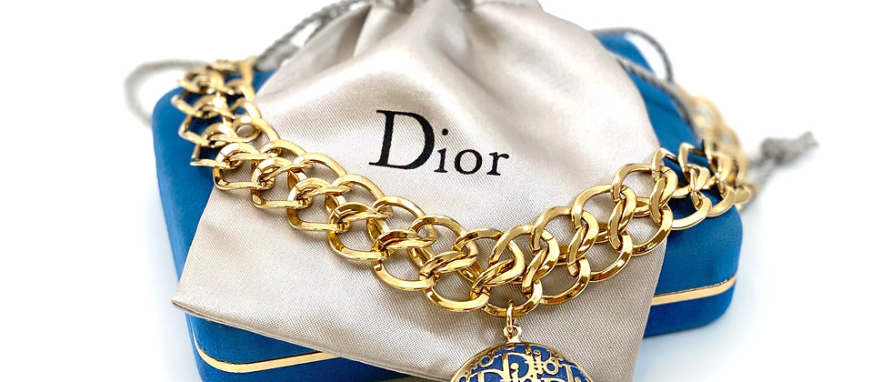 Repurposed Vintage Dior Oblique Trotter XL Rare Charm Choker Necklace