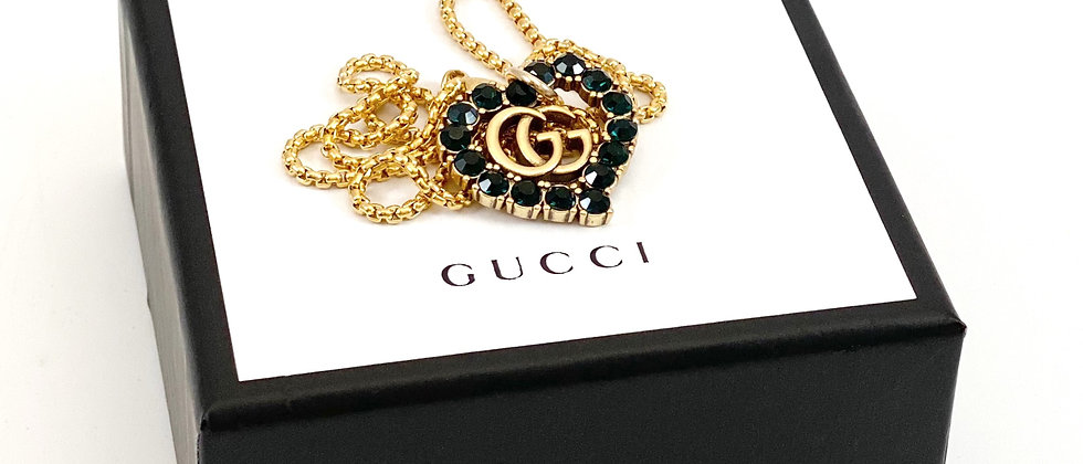 Repurposed RARE Gucci XL Dark Green Colored Crystal GG Heart Pendant Necklace