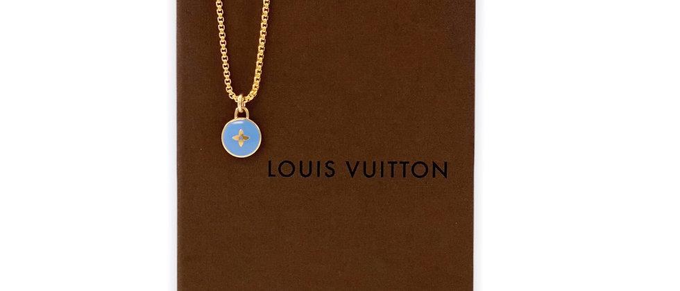 Repurposed Louis Vuitton Cornflower Blue & Gold Flower Pastilles Charm Necklace