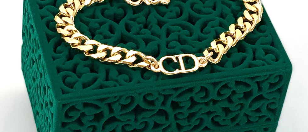 Repurposed Gold Christian Dior CD Cuban Link Bracelet