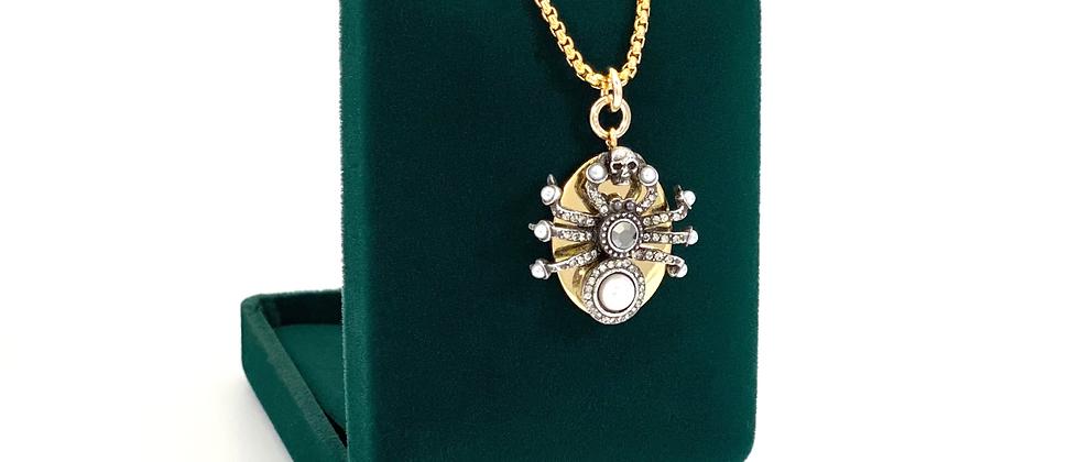 Repurposed Alexander McQueen Gold Swarovski Skull & Spider Charm Necklace