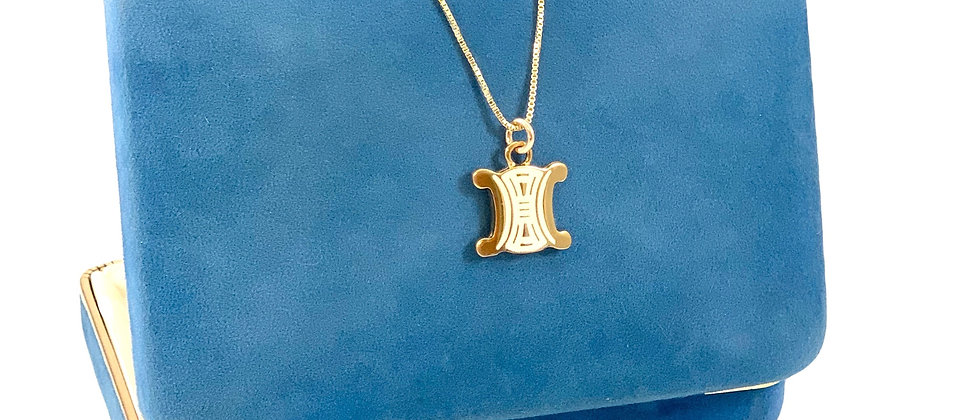 Repurposed Vintage Gold & Cream Enamel Celine Logo Charm Necklace