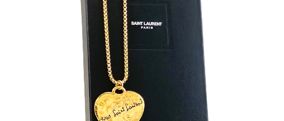 Repurposed Vintage YSL Robert Goossens VERY RARE XL Love Hammered Heart Necklace