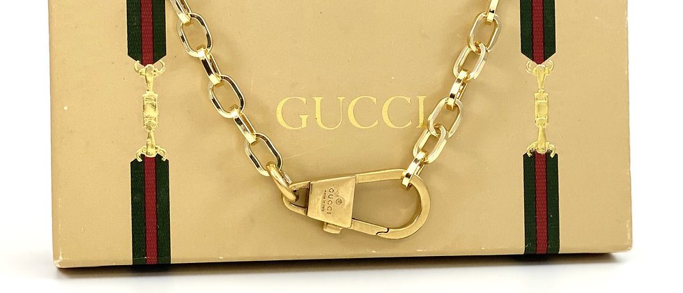 Repurposed Vintage Gucci Gold Carabiner Choker Necklace
