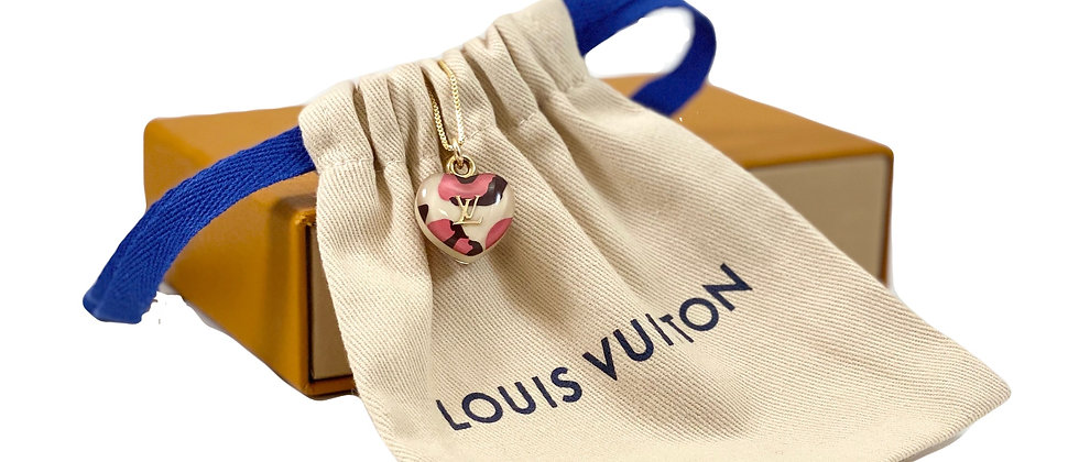 Repurposed Louis Vuitton Pink Leopard Medium Heart Necklace