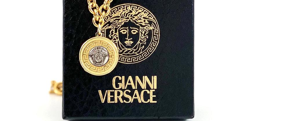 Vintage Repurposed Versace Silver & Gold Medusa Large Charm Choker Necklace