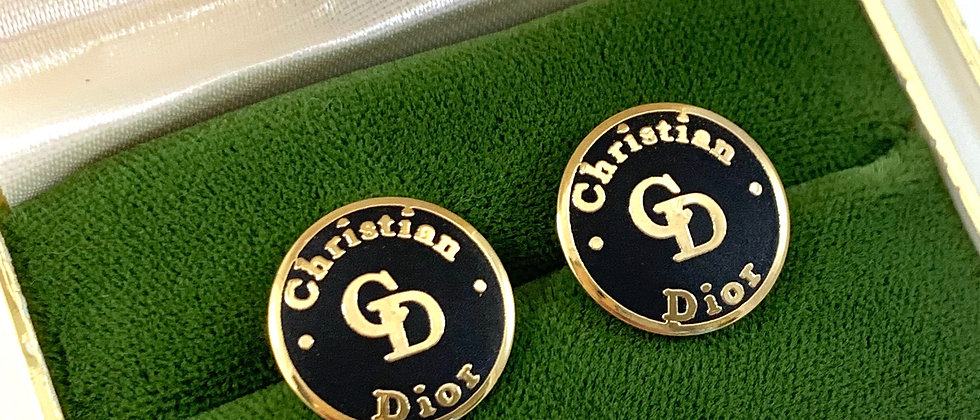 Vintage Repurposed Christian Dior Black & Gold Button Earrings