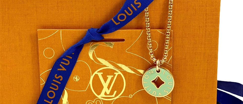 Repurposed Louis Vuitton Medium Mint & Lime Dbl Sided Enamel Necklace