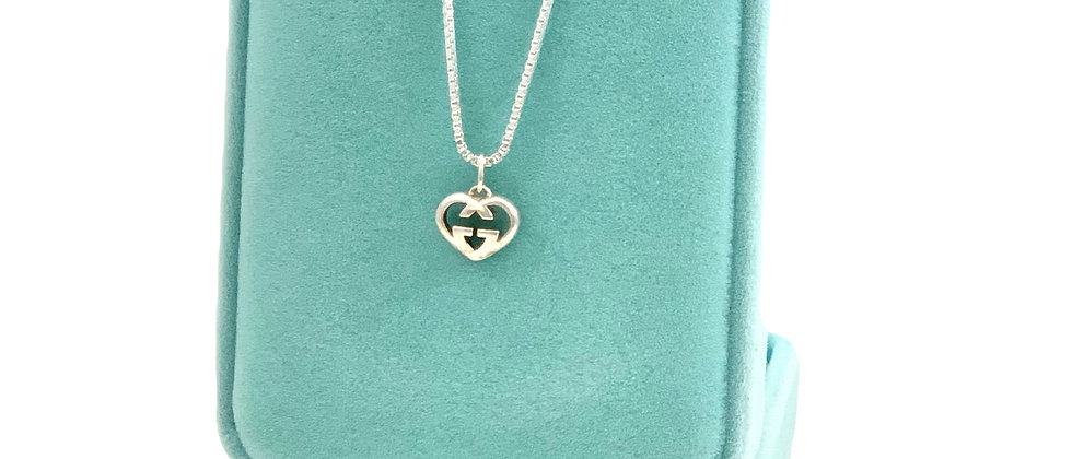 Repurposed Gucci Sterling Silver Small GG Heart Logo Charm Necklace