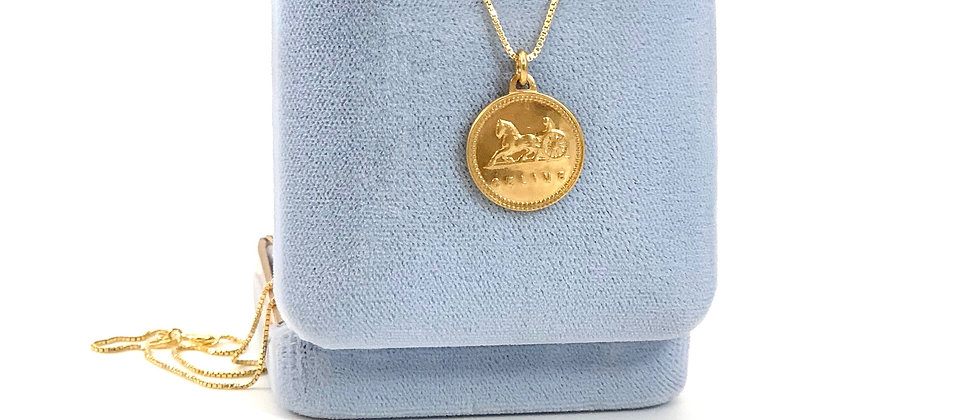 Repurposed Vintage Gold Celine Carriage Logo Medium Charm Necklace