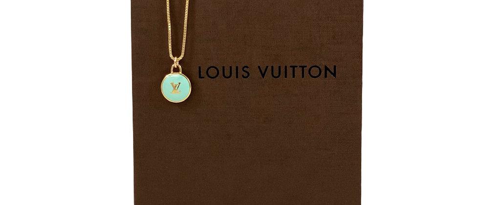 Repurposed Louis Vuitton Aqua & Gold LV Monogram Pastilles Charm Necklace
