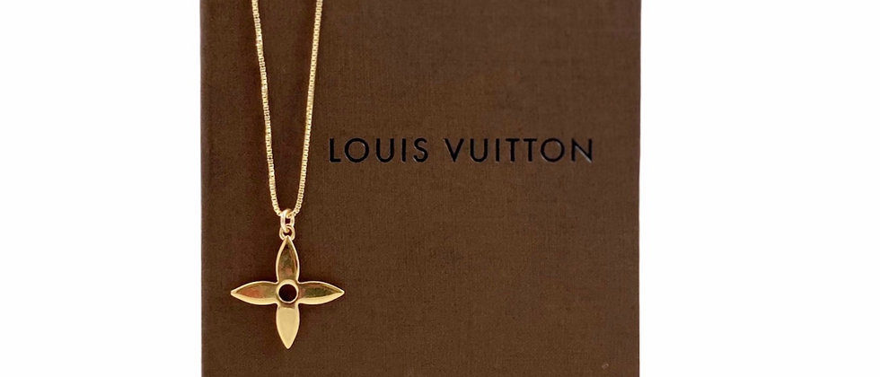 Repurposed Louis Vuitton Medium Gold Flower Charm Necklace