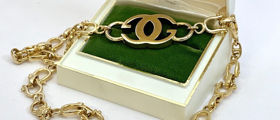 Vintage Repurposed Gucci Gold GG Stirrup Equestrian Link Necklace