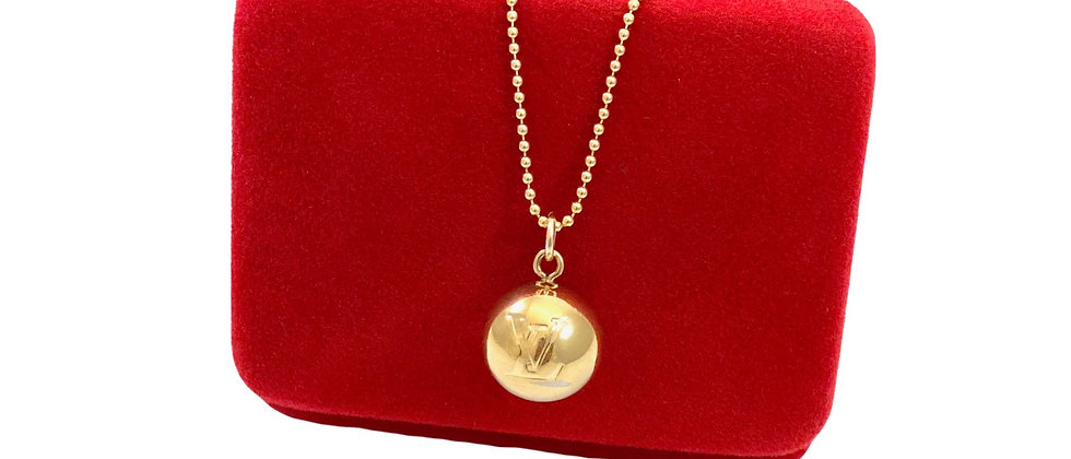 Repurposed Louis Vuitton Medium Gold LV Monogram Ball Charm Necklace