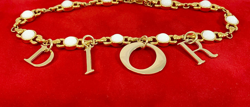 Repurposed Floating Dior Charm Choker Necklace