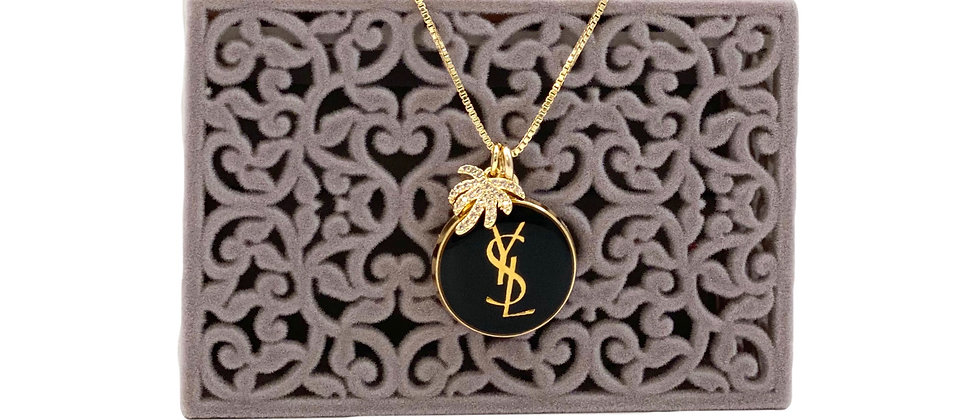 Repurposed YSL Large Black & Gold Necklace With Removable CZ Palm Tree Charm