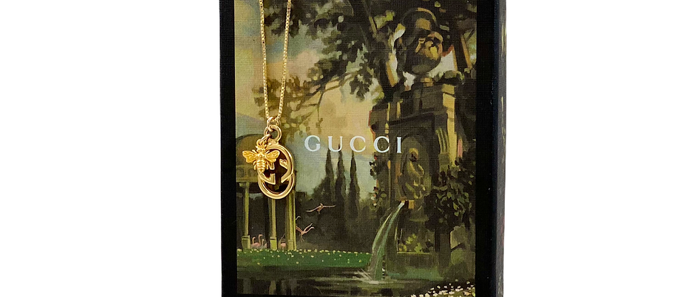 Repurposed Vintage Gucci Gold GG & Bee Charm Necklace