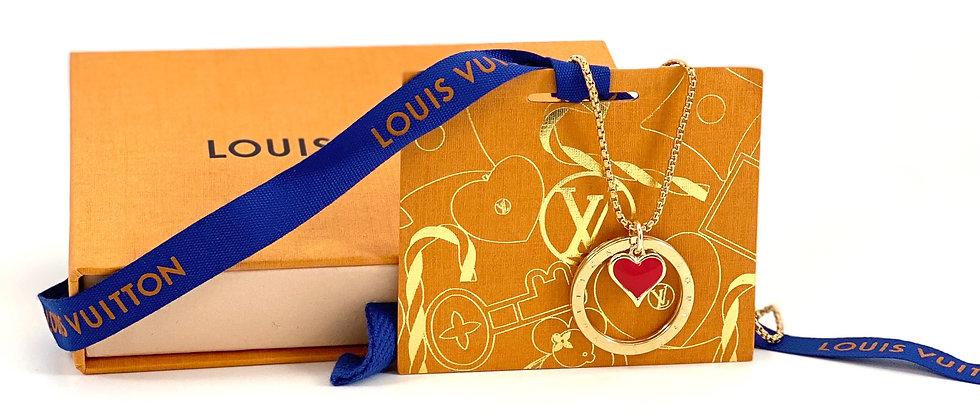 Repurposed Louis Vuitton Medium Gold Ring & Red Enamel Heart Charm Necklace