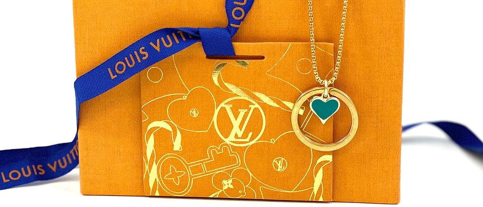 Repurposed Louis Vuitton Medium Gold Ring & Green Enamel Heart Charm Necklace