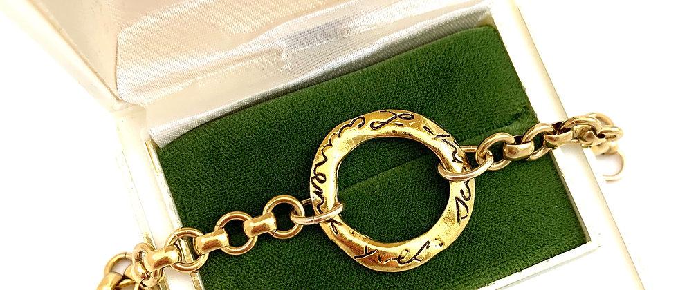 Repurposed Vintage YSL Script Floating Circle Charm Bracelet