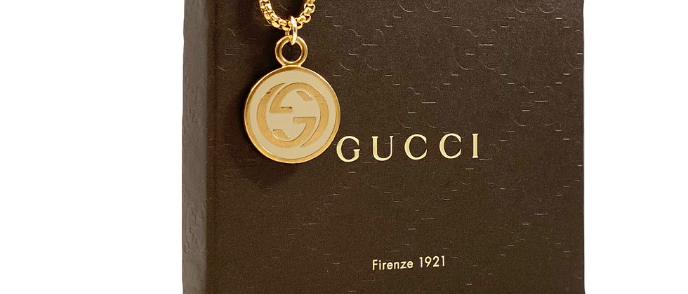 Repurposed Vintage Gucci Cream & Gold Large Charm Necklace