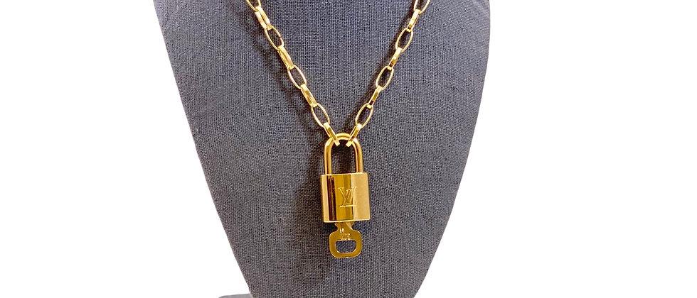 Repurposed Louis Vuitton LV Monogram Padlock Charm Necklace