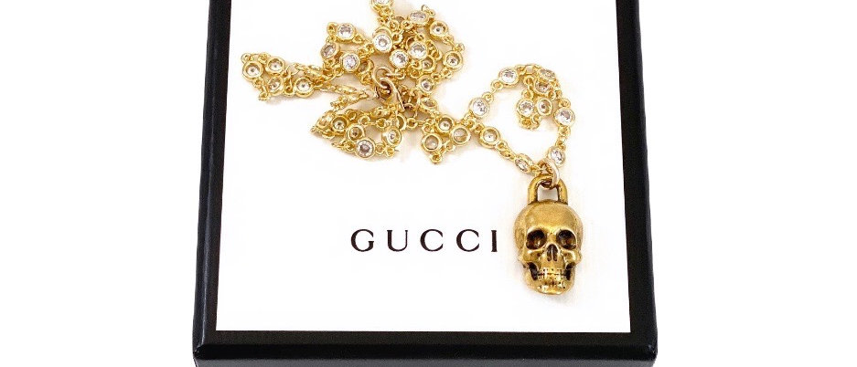 Repurposed Vintage Gucci Gold Skull Charm CZ Station Chain Necklace