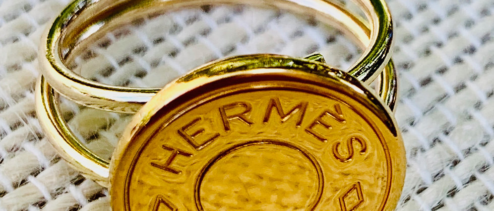 Repurposed Vintage Hermès Gold Filled Double Adjustable Band Ring