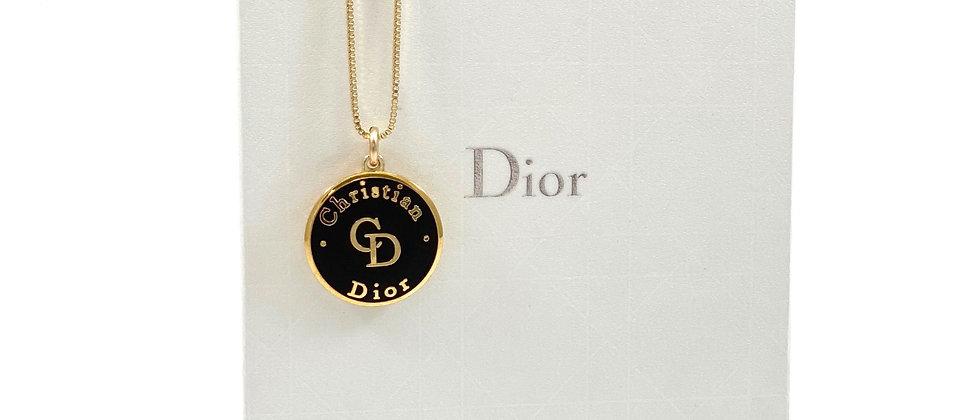Vintage Repurposed Christian Dior CD Black & Gold Charm Necklace