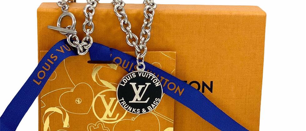 Repurposed Louis Vuitton Very RARE Silver & Black LV Monogram Choker Necklace