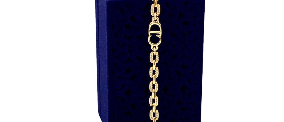 Repurposed Gold Christian Dior CD CZ Link Bracelet