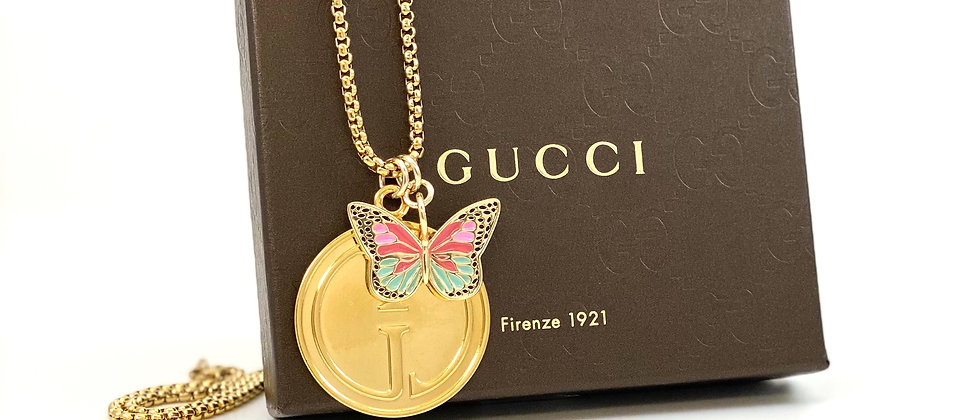 Repurposed Vintage 1990's XL Gucci Charm Necklace & Removable Butterfly