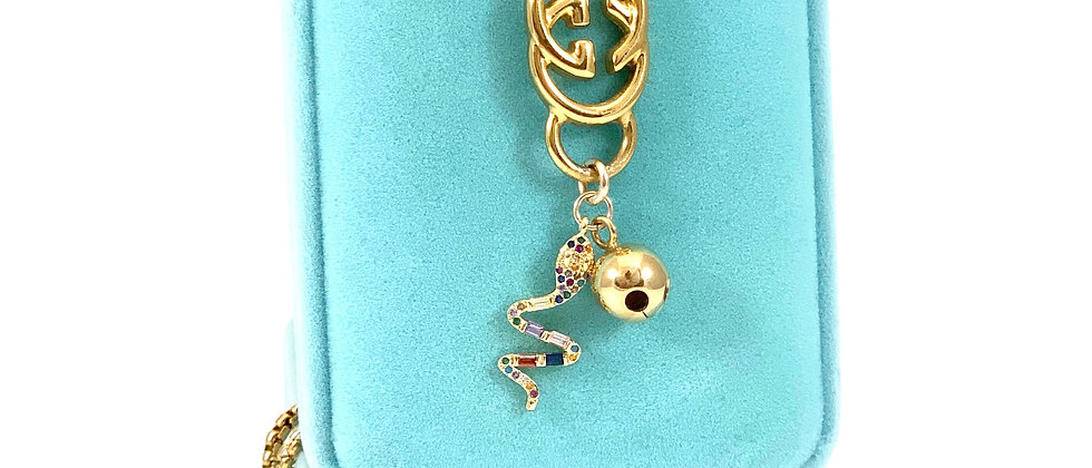 Repurposed Vintage Large Gucci GG Pave Snake & Bell Charms Necklace