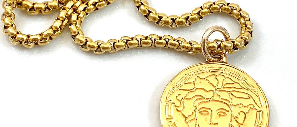 Repurposed Versace Medusa Gold Medium Charm Necklace