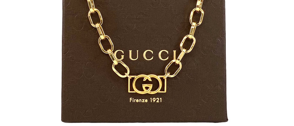 Repurposed Vintage Gucci Gold GG Chunky Paperclip Choker Necklace