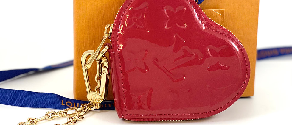 Repurposed Louis Vuitton Red Vernis Leather LV Monogram Heart Coin Purse