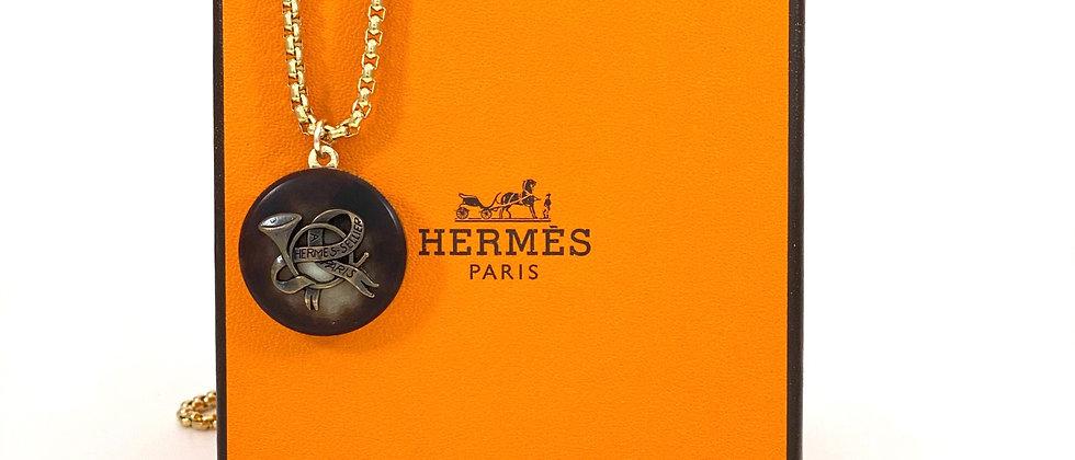 Repurposed Vintage Hermès Large Buffalo Horn Charm Necklace
