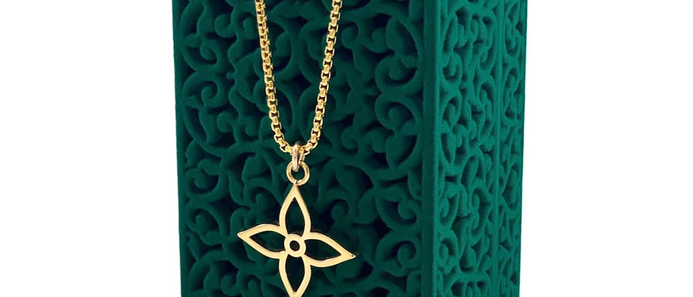 Repurposed Louis Vuitton Medium Gold Signature Flower Charm Necklace