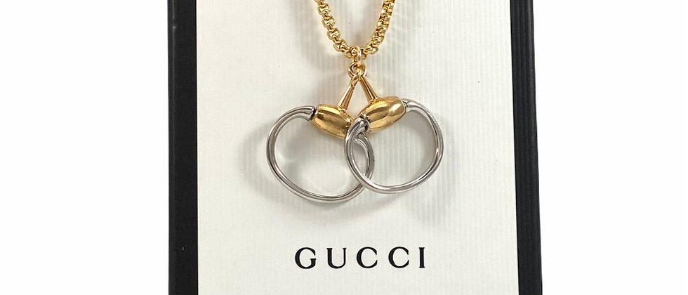 Repurposed Vintage Gucci Mixed Metals Horsebit Charm Necklace