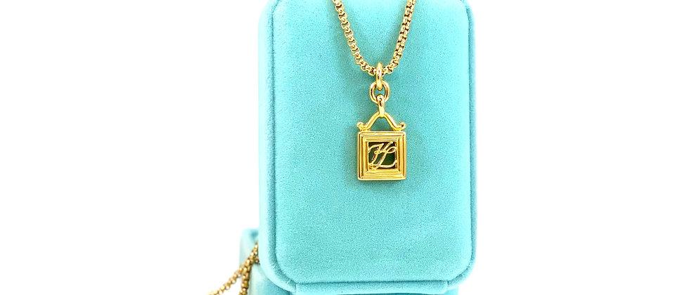 Repurposed Karl Lagerfeld Gold KL Monogram Charm Necklace