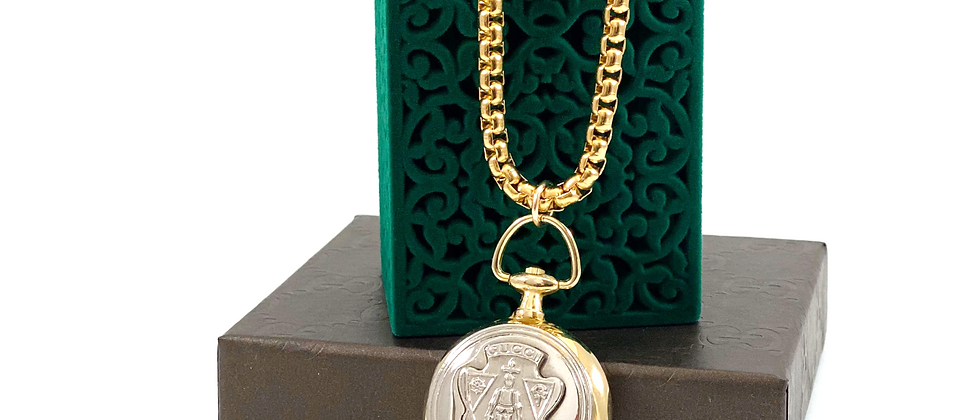 Repurposed Vintage Gucci Knight Mixed Metals Pocket Watch Style Necklace