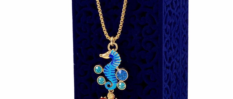 Repurposed Dolce & Gabbana Crystal & Enamel Sacred Heart & Seahorse Necklace