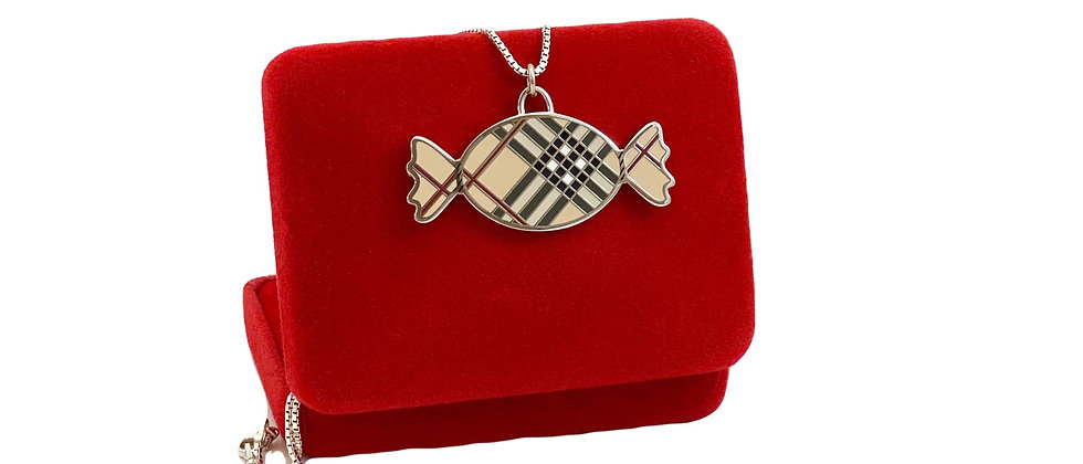 Repurposed Burberry Nova Check Silver XL Candy Charm Necklace