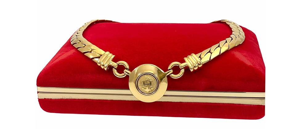 "Repurposed Vintage Hermès Large Gold ""H"" Anchor Accent Choker Necklace"