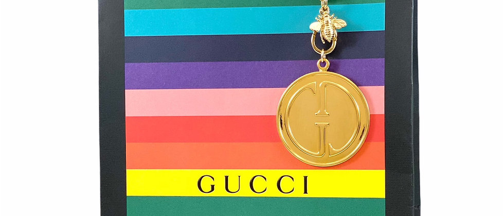 Repurposed Vintage XXL RARE Gucci Double Sided Charm & Bee Necklace