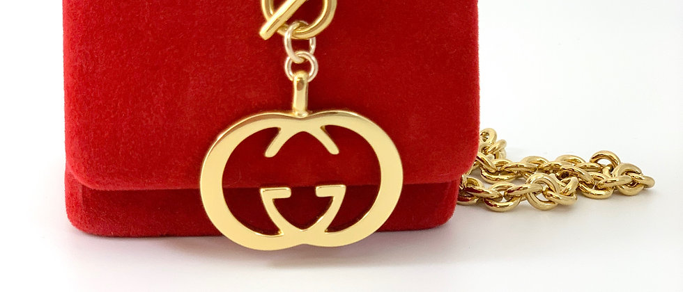 Repurposed Vintage Gucci XL Gold GG Logo Toggle Necklace