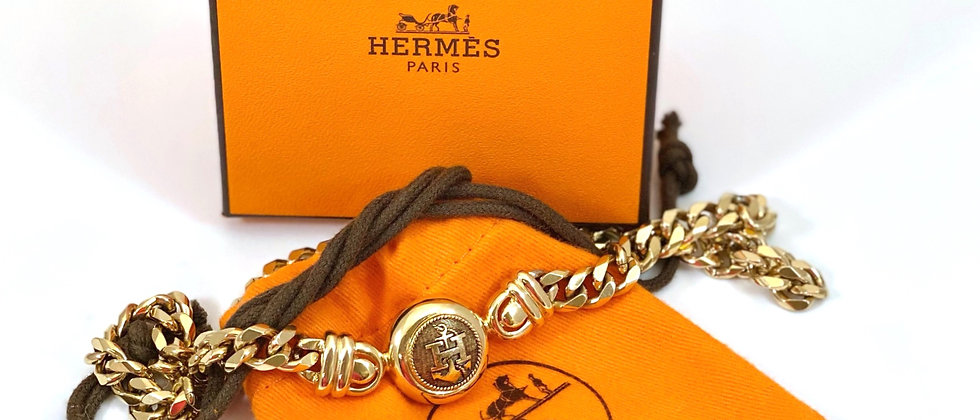 "Repurposed Vintage Hermès Large Gold ""H"" Anchor Accent Choker Necklace"