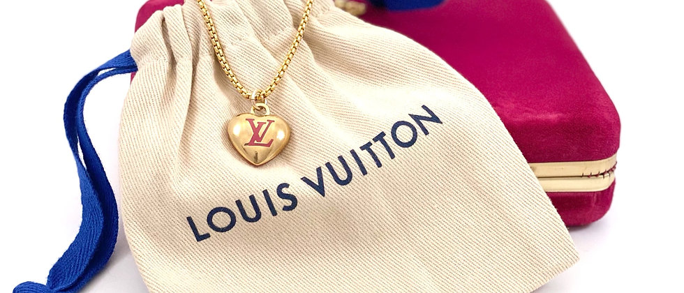 Repurposed Vuitton Pink & Gold Medium Solid Puffed Heart LV Monogram Necklace