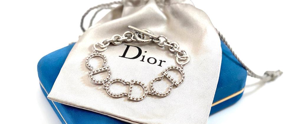 Vintage Repurposed Silver Christian Dior CD Link Bracelet